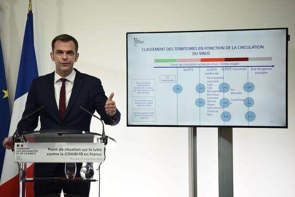Le ministre de la santé Olivier Véran lors de son point presse le 23 septembre dernier