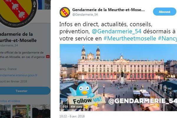 Depuis le 6 avril 2018, vous pouvez suivre l'actualité et les conseils des gendarmes de Meurthe-et-Moselle sur twitter.
