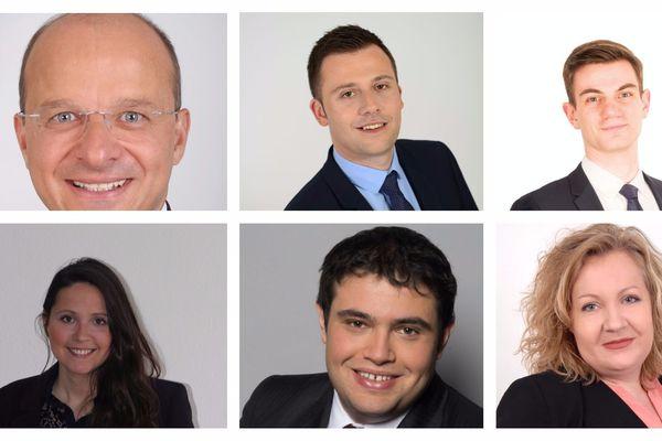 Les candidats pour la législative partielle pour la 1ère circonscription du Territoire de Belfort, du haut à gauche : C. Grudler, I. Boucard, JR Sandri, A. Beltran, A. Courty et S. Montel