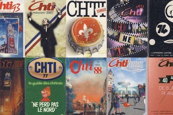 """10 couvertures du guide """"Ch'ti"""" au fil des années depuis 1974."""