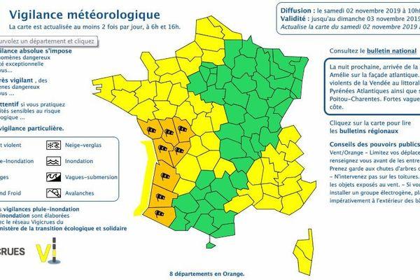 En tout, huit départements français sont en vigilance orange.