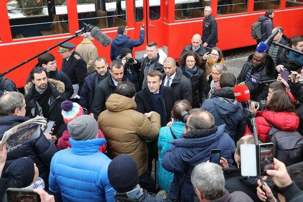 Emmanuel Macron à Chamonix ce 13 février au matin.