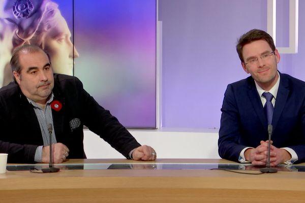 Jean-Michel Bérégovoy et Nicolas Mayer-Rossignol le dimanche 15 mars sur le plateau de l'émission spéciale élections municipales 2020 de France 3 Normandie
