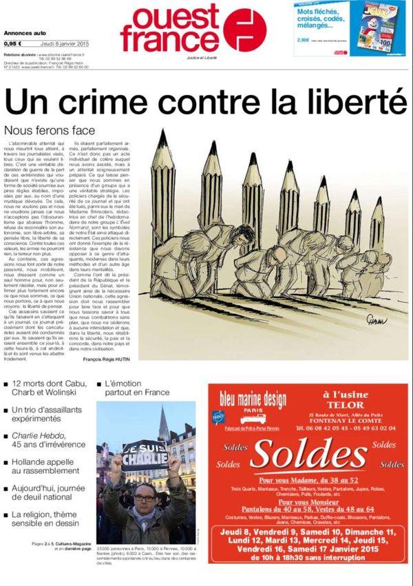 La Une de Ouest-France ce 8 janvier 2015
