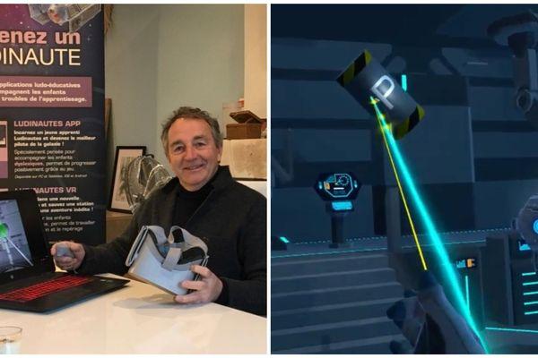 Henry Arnould a développé un jeu spécialement pour les enfants dys. Un casque de réalité virtuelle sur la tête, l'enfant est invité à bord d'une station spatiale.