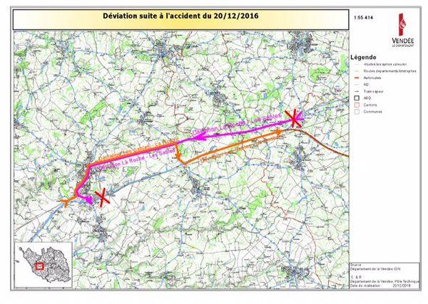 Une déviation mise en place après le carambolage monstre de Sainte-Flaive-des-Loups en Vendée