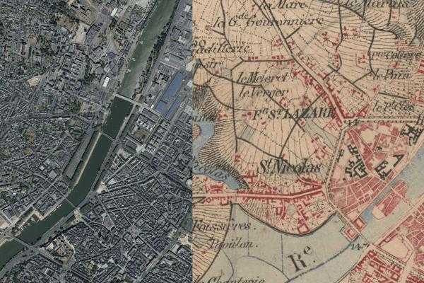 La ville d'Angers contemporaine comparée à une carte d'Etat Major du début du 19ème siécle