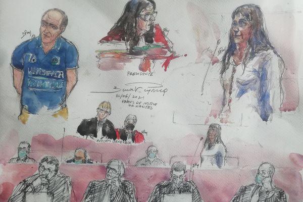 Un croquis d'audience durant le procès de l'affaire Caouissin Troadec à la cours d'assises de Loire-Atlantique, juin/juillet 2021
