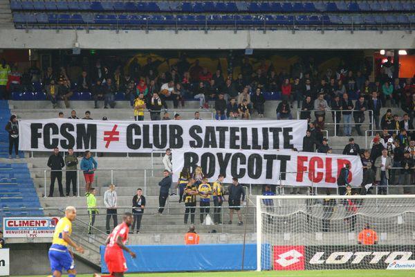 Les supporters sochaliens de la tribune Nord appellent au boycott des abonnements lors de la 6ème journée de Ligue 2, le 31 août dernier.
