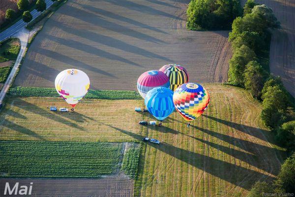 Rassemblement de montgolfières dans le Sundgau.