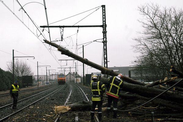 Intervention sur une voie SNCF près de Tours (Indre-et-Loire, en région Centre) après une chute d'arbre lors d'une tempête en 2008.