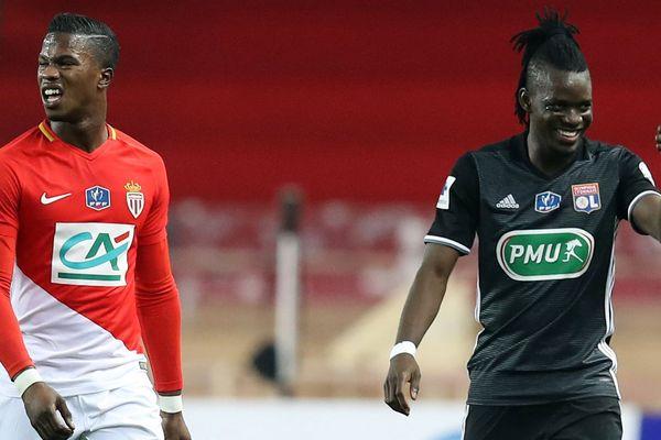 Bertrand Traore  pour l'OL à droite, après son but contre l'AS Monaco.