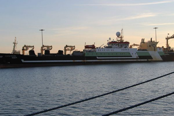 Le Maartje Theadora, ici à Cherbourg, a été régulièrement aperçu dans la Manche ces dernières semaines.