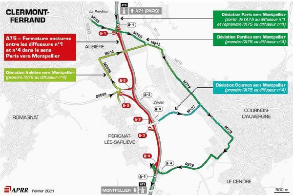 La circulation sera déviée la nuit du 17 février sur l'A75 près de Clermont-Ferrand.