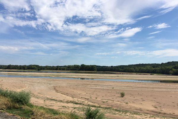A Saint-Mathurin sur Loire, dans le Maine et Loire, la Loire est une succession de bancs de sable.