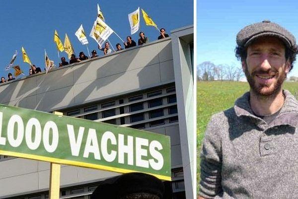 Des activistes sur le toit du constructeur Ramery à Erquinghem-Lys en 2013 (à gauche) et Thierry Bonnamour (à droite).