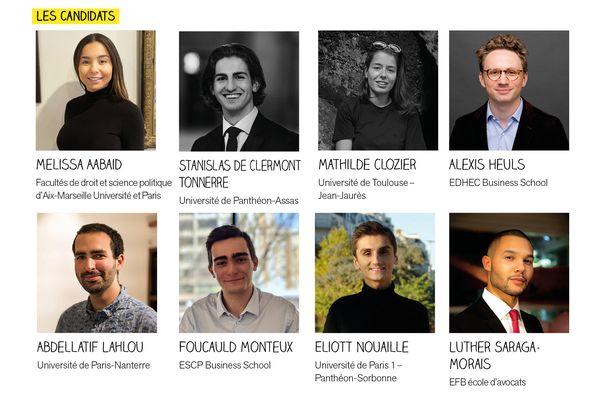Les huit candidats en lice pour le concours national d'éloquence. Ils seront jugés lors de la soirée du vendredi 25 juin.