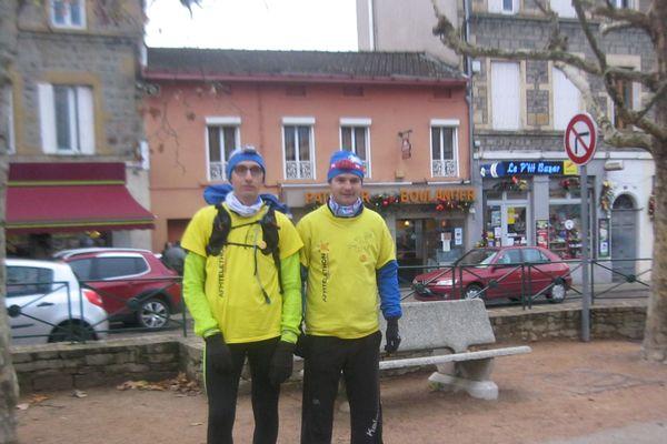 Fred et Régis ont couru durant 24 heures pour le Téléthon ... un challenge de près de 100 km dans les Monts du Lyonnais.