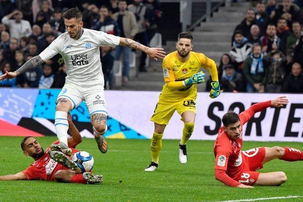 Dario Benedetto le 29 novembre 2019 au vélodrome contre Brest
