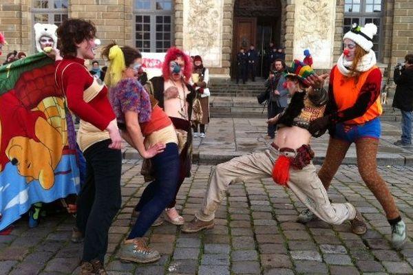 manifestation de soutien aux opposants à NDDL jugés en appel à Rennes