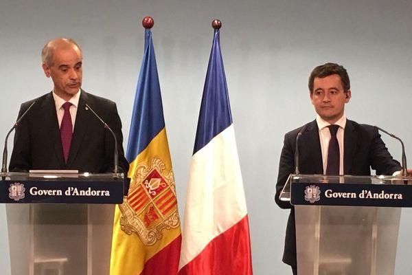 Gérald Darmanin a été accueilli par le Chef du Gouvernement de la Principauté d'Andorre Antoni Marti Petit.
