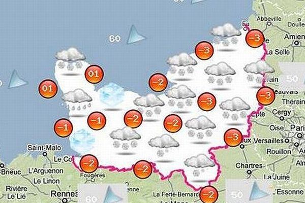 La carte de prévisons de Normandie Météo.fr pour la journée du mardi 12 mars 2013