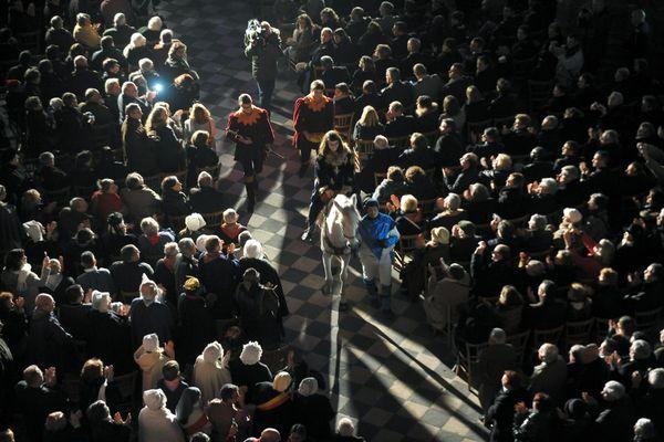 Célébration de l'anniversaire de la naissance de Jeanne d'Arc dans la cathédrale Sainte-Croix, à Orléans, le 7 janvier 2012.