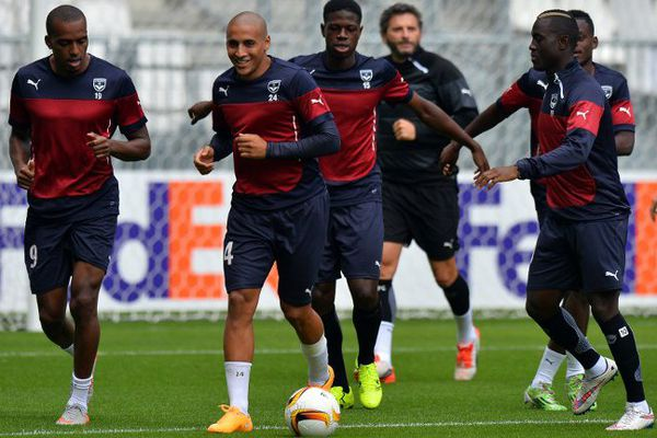 Les Girondins à l'entraînement avant le choc Bordeaux-Liverpool.
