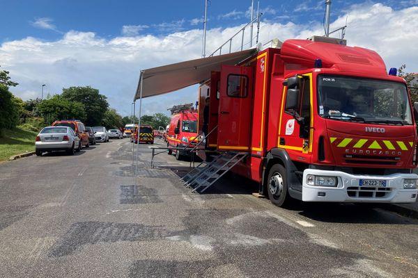 Redon, les pompiers ont installé un poste de sécurité sur le site