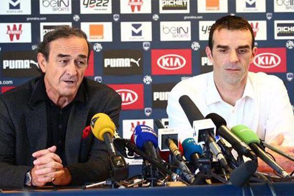 Le président des Girondins de Bordeaux Jean-Louis Triaud et son nouvel entraîneur Ulrich Ramé (Girondins de Bordeaux)