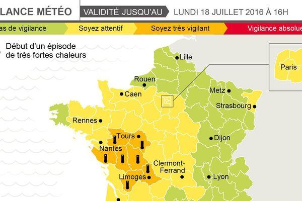 Vigilance orange en Indre-et-Loire le dimanche 17 juillet