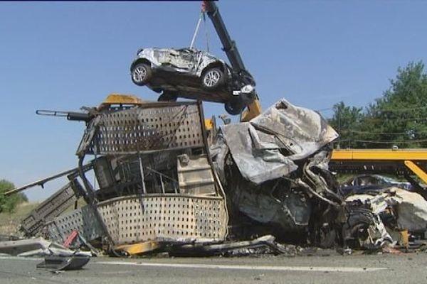 L'accident de l'A36 a mis en cause trois poids lourds