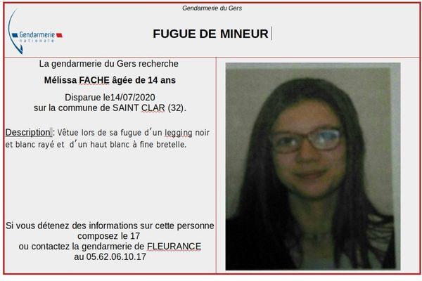 La jeune fille a disparu depuis le 14 juillet.