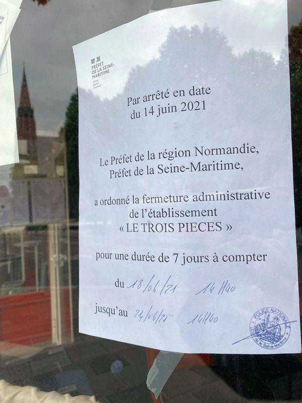 Rouen - Juin 2021 : le bar Le Trois Pièces fermé par la préfecture pendant une durée de 7 jours