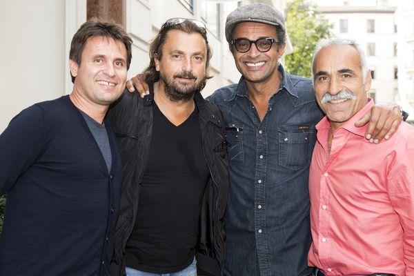 Fabrice Santoro, Henri Leconte, Yannick Noah et Mansour Bahrami  réunis lors de l'étape lyonnaise en septembre 2013