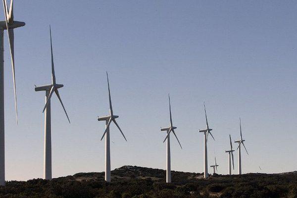 Des aérogénérateurs (éoliennes) sur le site d'Opoul Perillos, près de Narbonne - archives