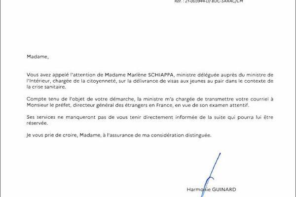 Ce dernier courrier daté du 18 mars 2021 provient enfin du cabinet de Marlène Schiappa.