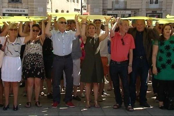 """Un """"tifo"""" a été organisée place de la Libération, à Dijon, samedi 11 juillet 2015, pour fêter l'inscription des climats du vignoble de Bourgogne au patrimoine de l'humanité."""