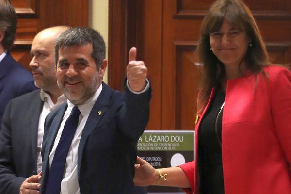 Madrid - Jordi Sanchez est sorti de prison pour s'enregistrer à la chambre des députés espagnoles comme élu du parti Ensemble pour la Catalogne - 20 mai 2019.