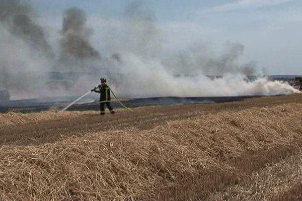 Incendies dans les champs en Lorraine, avec la chaleur, les engins surchauffent et enflamment les céréales.