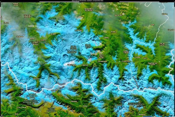 Photographie satellite de la chaîne des Pyrénées Sentinel 2