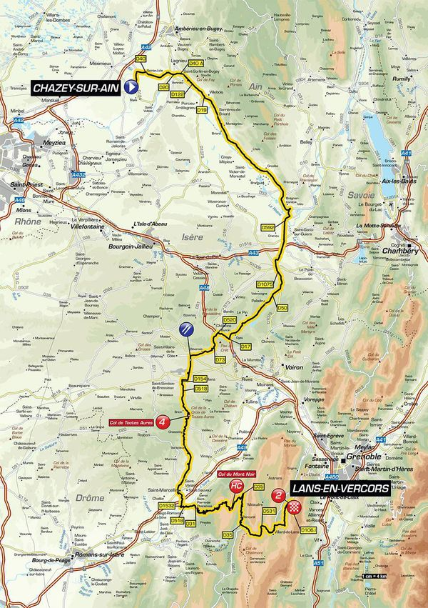 Critérium du Dauphiné 2018 - Le parcours de la 4e étape