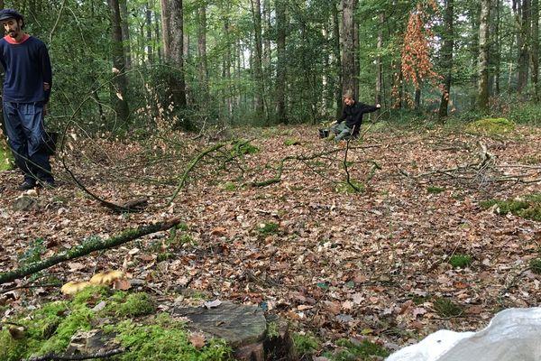 """Des bénévoles de l'association """"la maison bleue"""" au travail en forêt de Bercé"""
