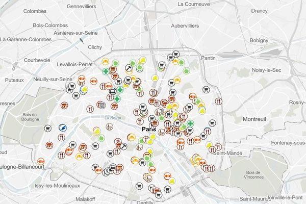 La carte conçue par la mairie de Paris ne rassemble pas uniquement des commerces alimentaires.