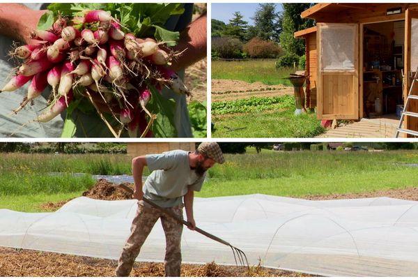 Jonathan Duhamel, 23 ans pratique le maraîchage sol vivant, à Saint-Philbert-sur-Risle (Seine-Maritime).