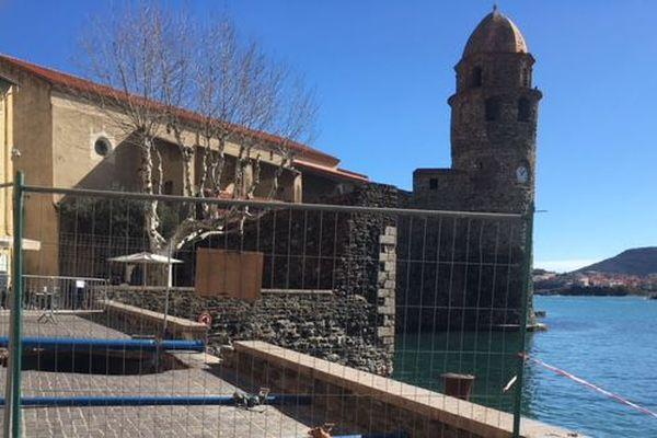 Un trou s'est formé sur le Boulevard Boramar de Collioure suite aux intempéries - Mars 2018