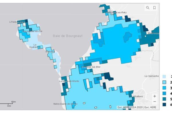 Carte des populations affectées par les inondations suivant le niveau de la mer / Zone Challans-Noirmoutier