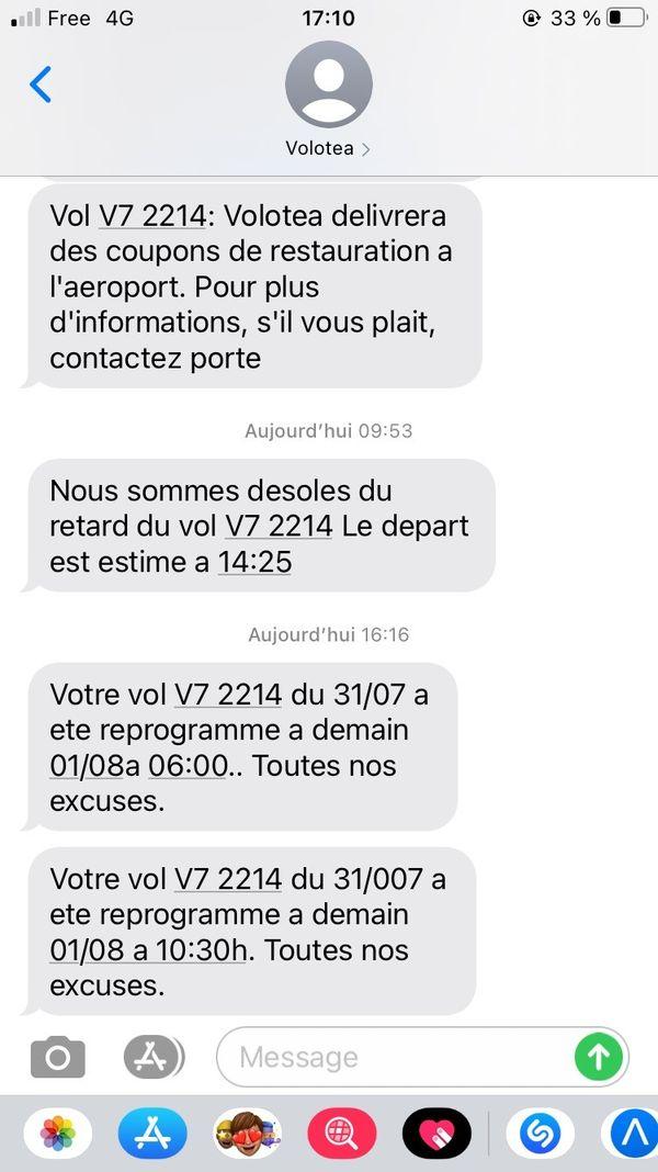 Les messages successifs qu'ont reçu les passagers.