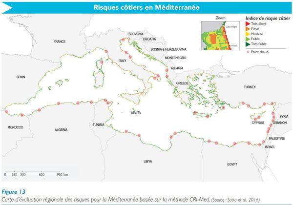 Sur la carte des risques côtiers, la partie orientale de la Corse paraît particulièrement exposée.
