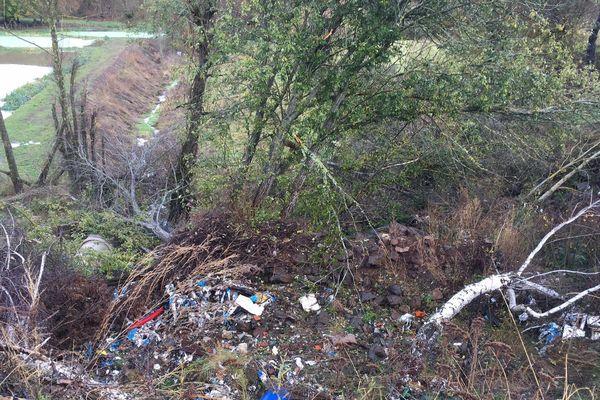 Des plastiques, des déchets pharmaceutiques et même des plaques d'amiantes s'amoncellent sur les berges de la Bèrthe à Costaros (Haute-Loire).